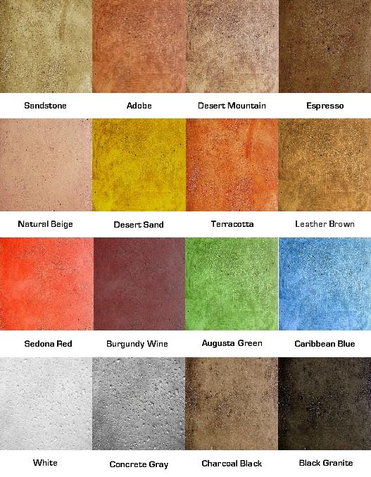 Concrete Stain Colors Color Chart